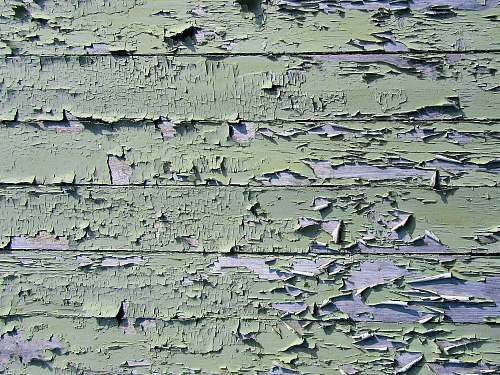 wood cracked green painting on wood plank rock