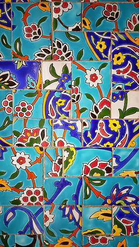 iran multicolored floral tiles pattern