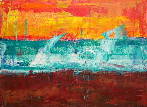 art teal, orange, and red abstract painting modern art