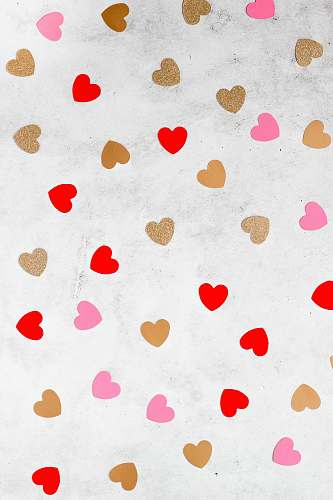 paper white and red heart illustration confetti
