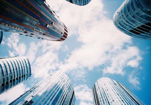 building low angle photography of high rise buildings city