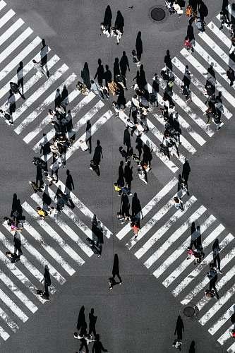 tarmac aerial view of people walking on cross pedestrian lane road