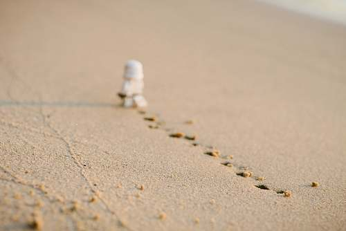 sand Stormtrooper with footprints on sand path