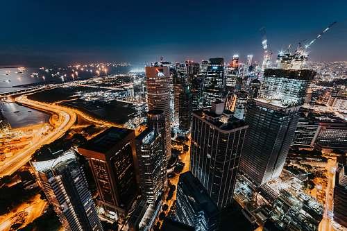 city bird's eye and timelapse photography of city skyline urban
