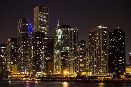 city city skyline at night urban
