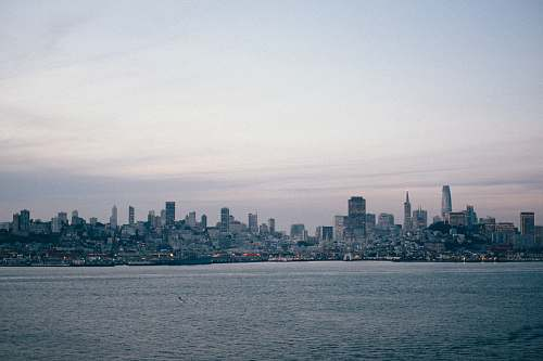urban city skyline near calm sea water during daytime grey