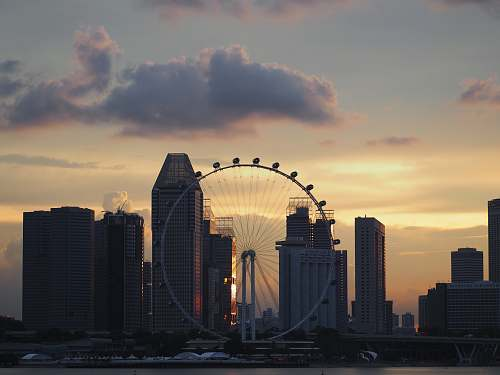 architecture landscape photography of ferris wheel at daytime singapore