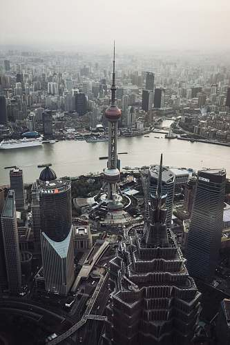 city Oriental Pearl tower, Shanghai China architecture