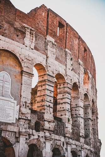 ruins view of Colosseum at Rome Italy architecture