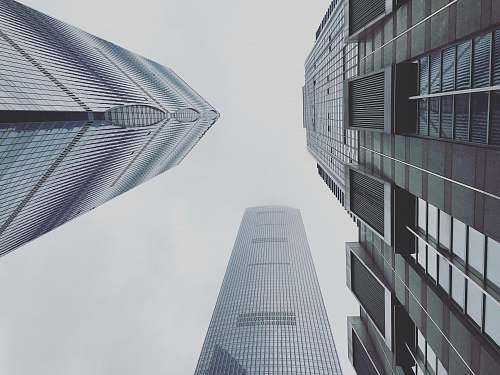 grey worm's-eye view photography of buildings architecture