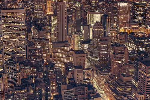 building aerial photography of city buildings with lights city