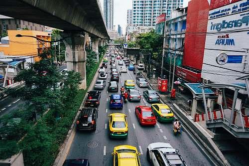 bangkok road with assorted cars transportation