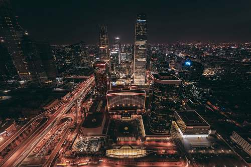 urban aerial view of lighted up buildings building