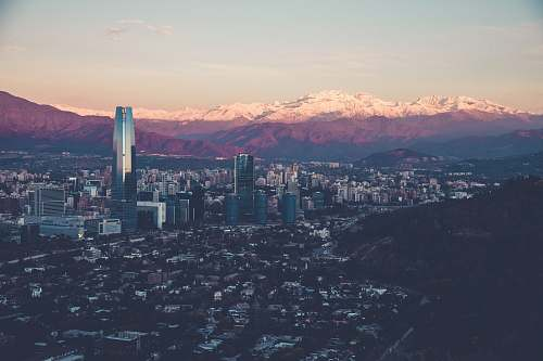 landscape birds eye view of city during sun rise chile