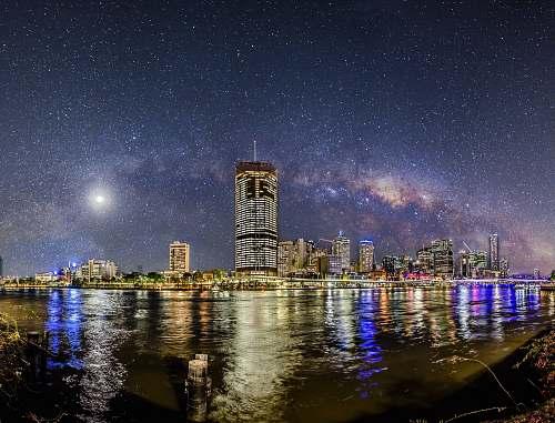 australia city skyline at nighttime river