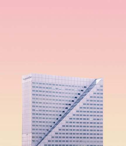 architecture high-rise building under pinkish sky skyscraper