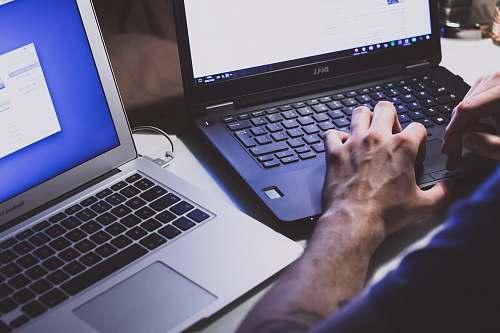 laptop person using black laptop computer pc