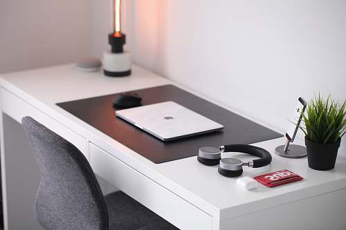 photo pot gray laptop on desk beside headphones table free for commercial use images