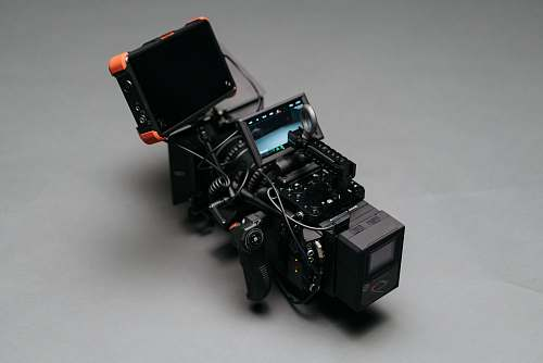 camera black video camera on gray surface display