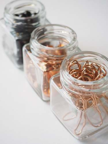office three clear glass containers jar