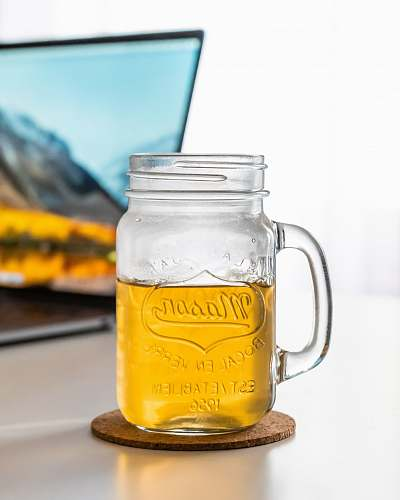 glass clear mason jar with handle beverage