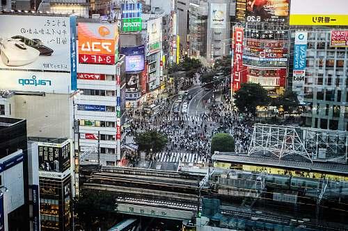 japan aerial view of buildings on city urban
