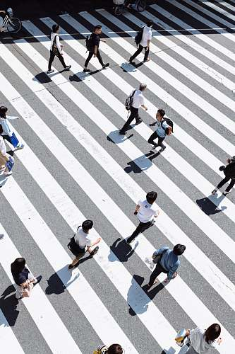 japan crowding people crossing on pedestrian lane traffic