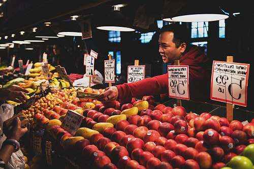 produce man selling fruits food