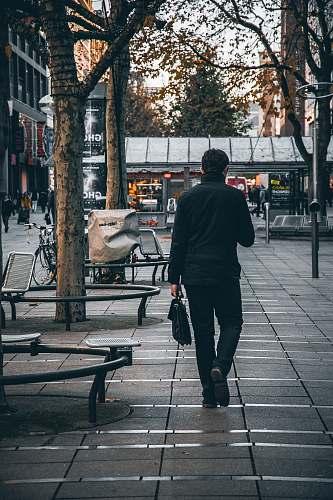 human man walking beside tree furniture