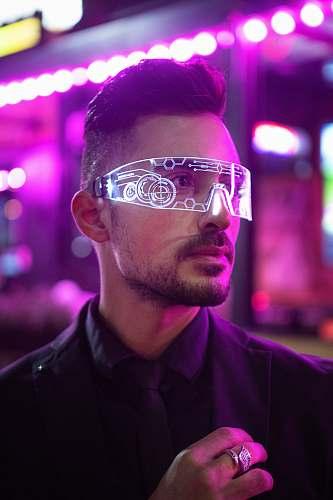 human man wearing black top light