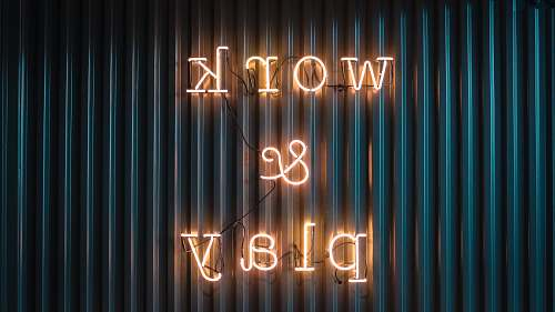 alphabet Work and Play yellow neon sign word