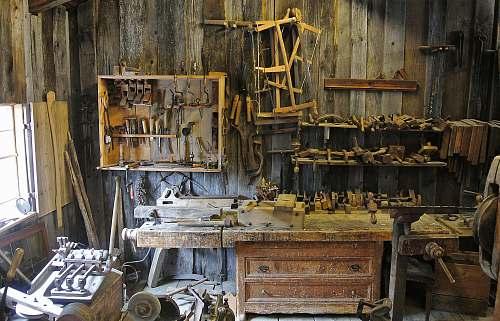 workshop brown wooden workbench tool