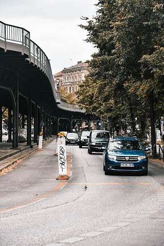 automobile blue vehicle near trees car