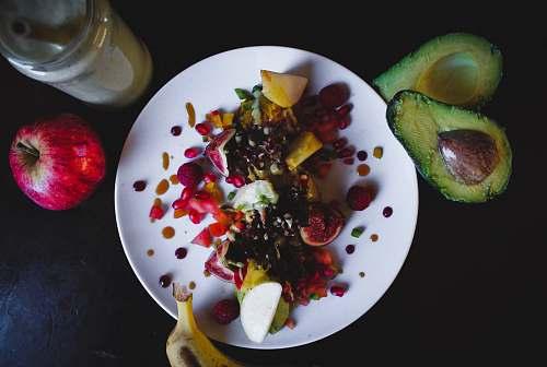 food sliced fruits on plate fruit