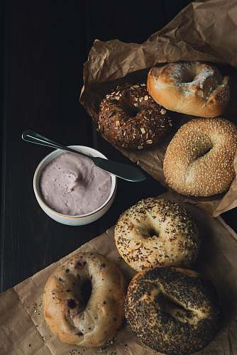 food doughnuts with cream bagel