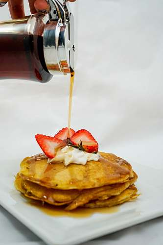 food waffles on white plate pancake