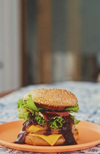food burger on orange plate grey