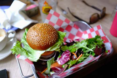 food hamburger with tray lunch