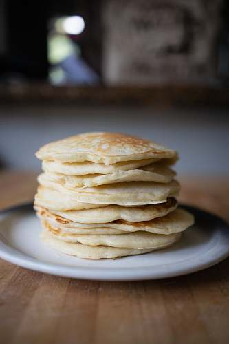 food stack of pancakes on plate bread