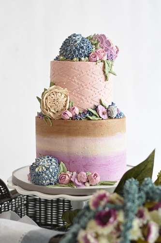 food multicolored 2-tier cake on white stand dessert