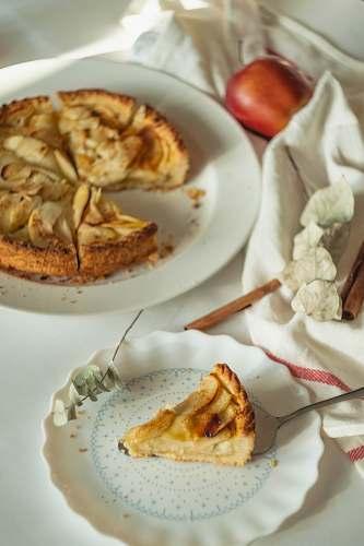 dessert sliced fruit pie on plate food