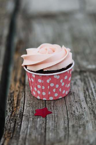 cake pink and white cup with dessert cream