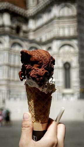 creme chocolate ice cream in cone cream