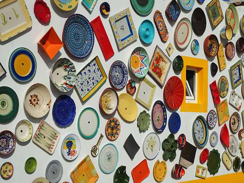 dish assorted-color decorative plate lot meal