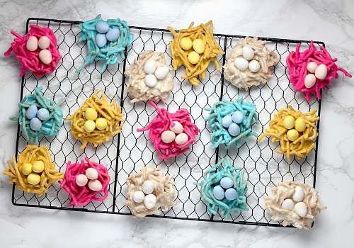 confectionery assorted-color eggs on nest wall decor sweets