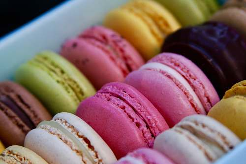 sweets assorted-color French macarons confectionery
