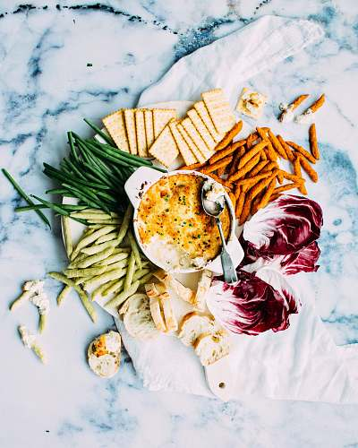 marble assorted food on white ceramic plate flatlay