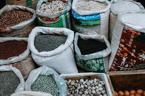 bean assorted labeled sacks flora