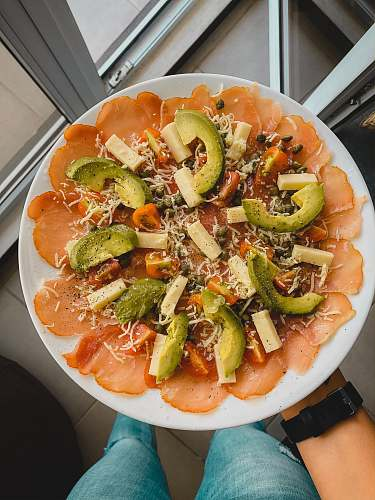 meal avocado with cheese dish