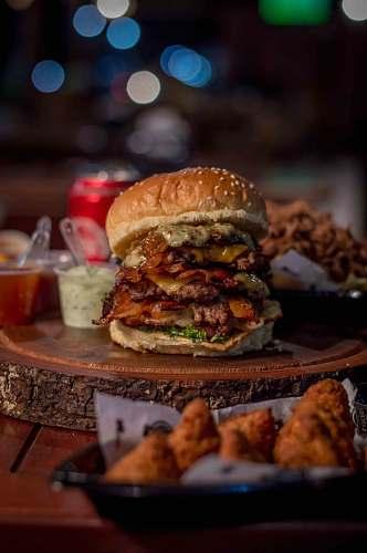 burger bacon and cheese burger platter brown